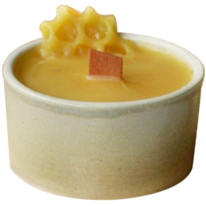 Свещ 100% био пчелен восък в керамична купичка