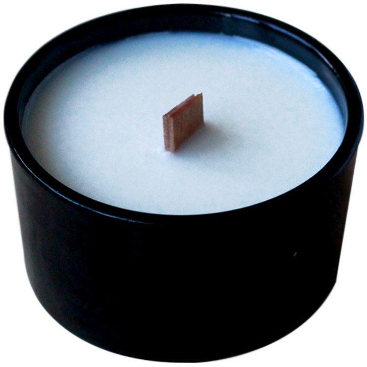 Свещ органичен соев восък в черна керамична купичка