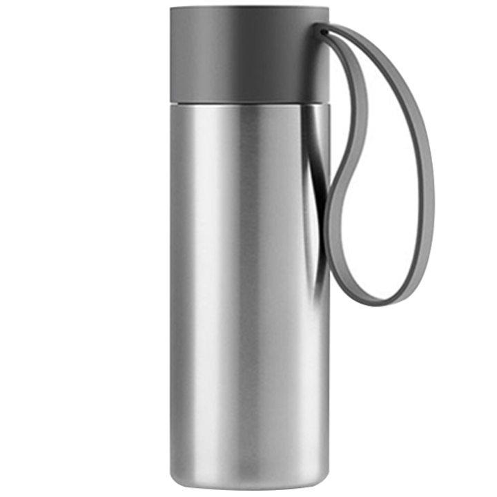 Чаша за път стомана, пластмаса, силикон, сива 350мл