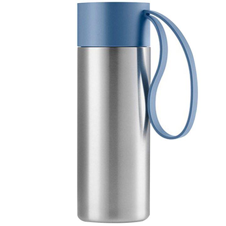 Чаша за път стомана, пластмаса, силикон, синя 350мл