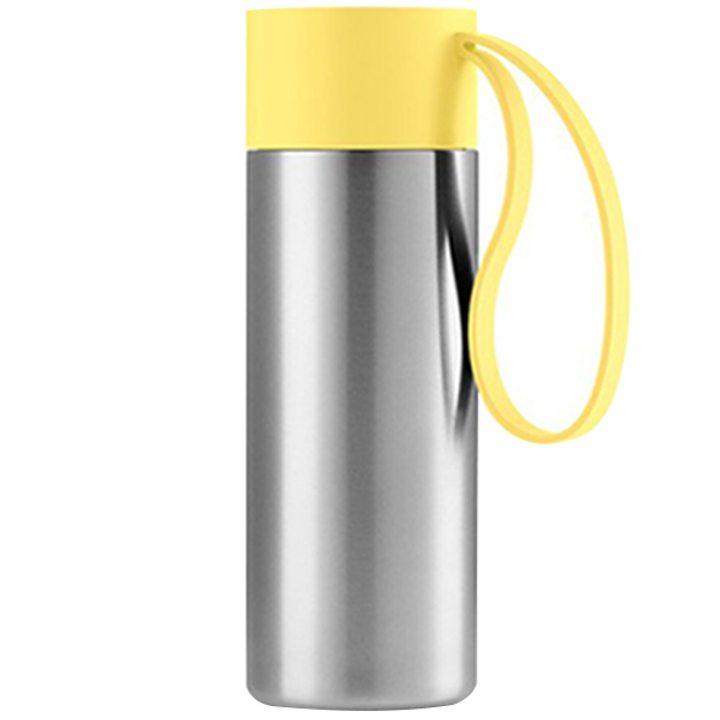 Чаша за път стомана, пластмаса, силикон, жълта 350мл