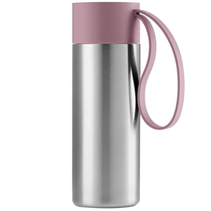 Чаша за път стомана, пластмаса, силикон, розова 350мл