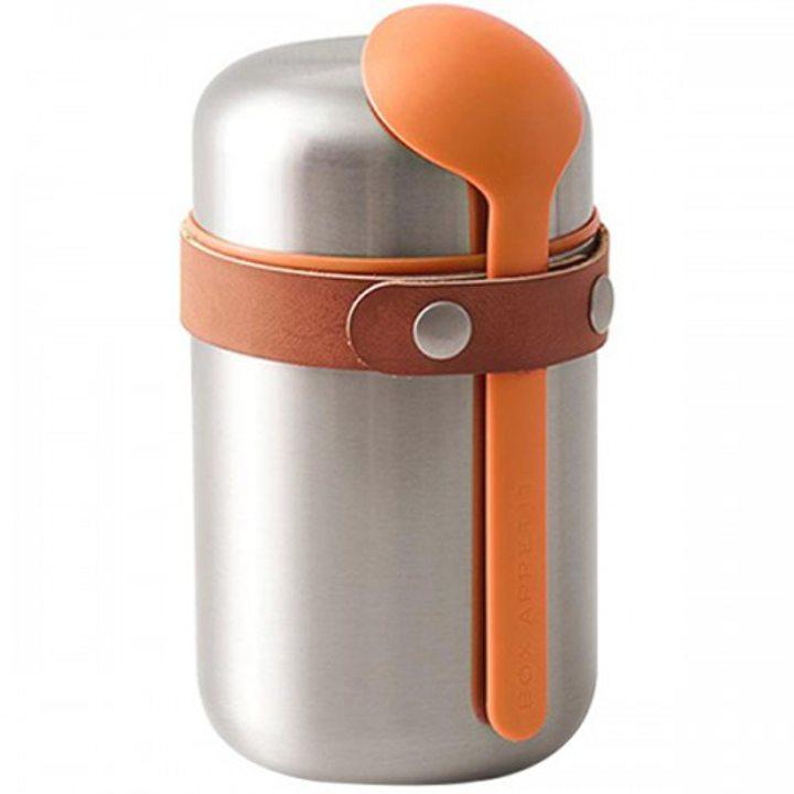 Кутия за храна стомана, еко кожа, оранжева 400мл