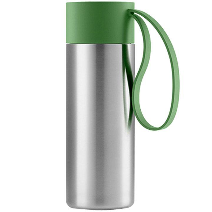 Чаша за път стомана, пластмаса, силикон, зелена 350мл