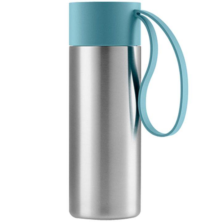 Чаша за път стомана, пластмаса, силикон, арктическо синьо 350мл