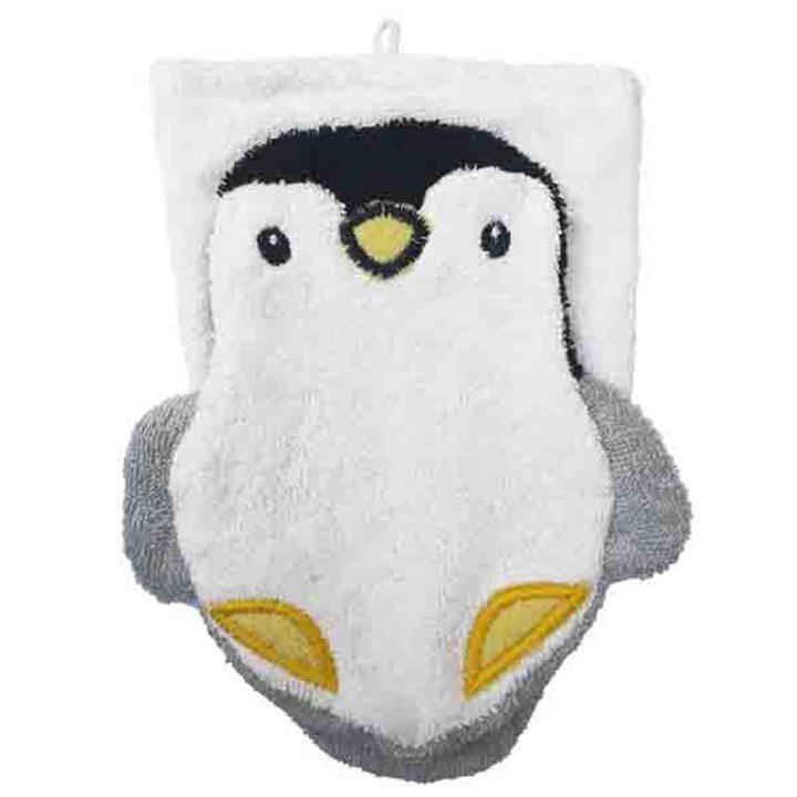Детска гъба тип тривка за баня от органичен памук Пингвин