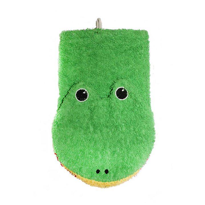 Детска гъба тип тривка за баня от органичен памук Жабка малка