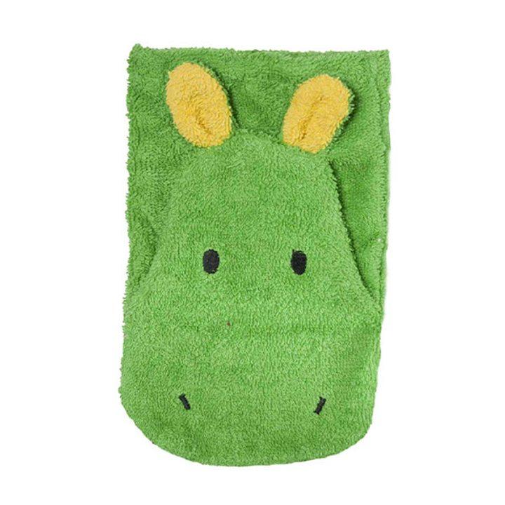 Детска гъба тип тривка за баня от органичен памук Хипопотам малка