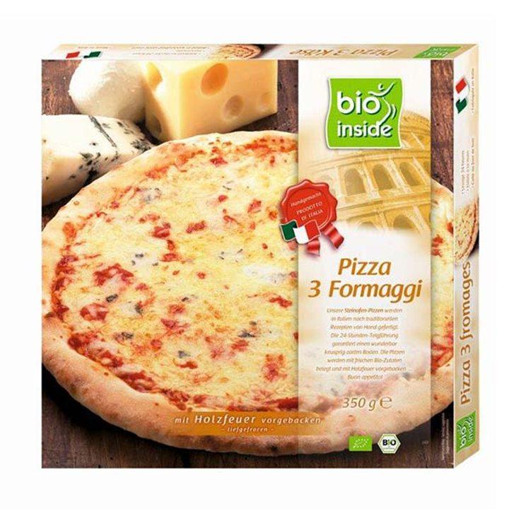 Био пица три сирена печена на дърва, замразена 350г